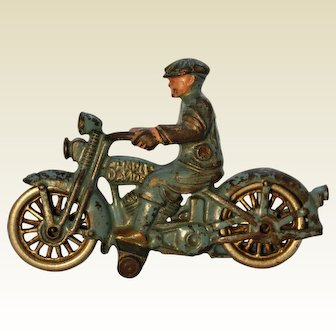 "Circa 1934-1935 Hubley ""Harley Davidson"" Motorcycle with Civilian Driver"