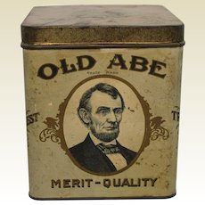 """Very Rare Early 1900's """"Old Abe"""" Paper Labeled Cigar Tin"""