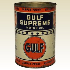 "1940's 1 Qt. ""Bullseye""  Gulf Supreme Motor Oil Can"