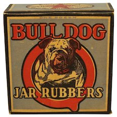 1930'S, 40'S Unopened Box of 12 'Bull Dog' Jar Rubbers