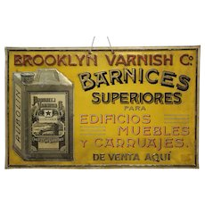 Early 1900's 'Brooklyn Varnish Co.' Embossed Tin Sign