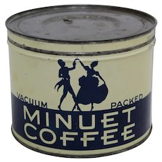 Circa: 1940-1965 'Minuet Coffee' Key Wind 1 lb. Litho Coffee Tin