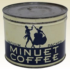 Circa: 1940-1965 'Minuet Coffee' Key Wind 1 lb. Litho Coffee Tin