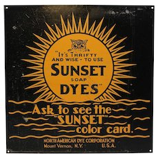 "Rare Early ""Sunset Soap Dyes"" Advertising Metal Sign"