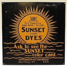 """Rare Early """"Sunset Soap Dyes"""" Advertising Metal Sign"""