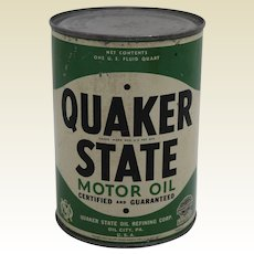 Mid 1930's, 1940's Unopened Qt. of  'Quaker State Motor Oil'