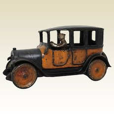 "Circa 1921-1928 Large 9"" Arcade Yellow Cab with Original Driver"