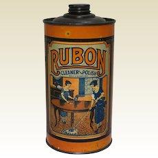 "Late 1920's early 30's ""Rubon Cleaner & Polish"" 1 Qt.  Litho  Tin"