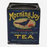 Rare Mid to Late 1930's, 'Morning Joy' Pekoe Tea Tin