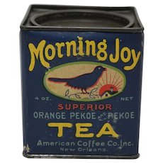 Rare Mid to Late 1930's, 'Morning Joy' Pekoe Tea Tin