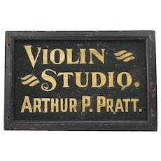 "Turn of the Century Two sided ""Violin Studio"" Wooden Trade Sign"
