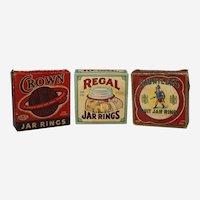 Three Assorted Full Boxes of Vintage Jar Rings (Regal, Crown & Dauntless).