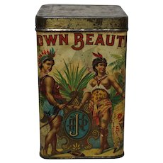 """Rare, Early 1900's Iowa """"Brown Beauties"""" Paper Labeled Cigar Tin"""
