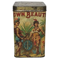 Rare, Early 1900's Brown Beauties Paper Labeled Cigar Tin