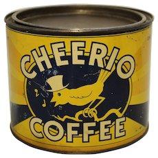 1930,s early 40's 'Cheerio Coffee' 1 lb. Litho Coffee Tin
