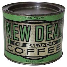 "Circa: Mid 1930's 'New Deal Coffee"" 1 Lb. Litho Tin"