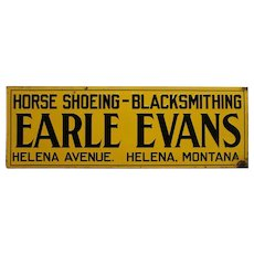 "1940's, 50's 'Horse Shoeing/ Blacksmithing"" Embossed  Metal Sign"