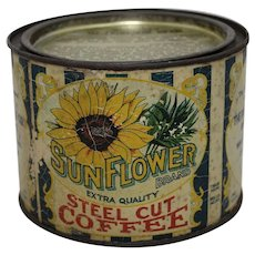 "Very Rare 1910'S ,1920'S 'Sunflower Coffee""  1 lb. Litho Coffee Tin"