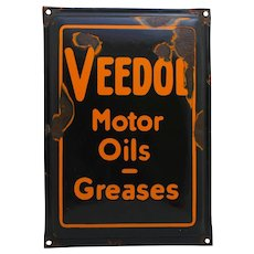 Rare 1920's, Early 30's Embossed 'Veedol Motor Oils-Greases' Porcelain Sign
