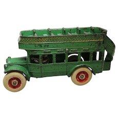 """Circa 1929-1939 Arcade 8"""" Double Decker Coach Bus"""