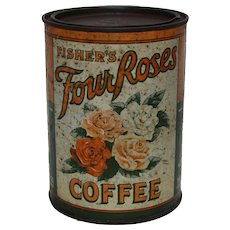 Circa: 1907-1908 1 lb. Fisher's 'Four Roses' Litho Coffee Tin