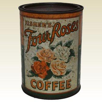 Circa: 1907-1908 1 lb. Fisher's 'Four Roses' Litho Coffee Tin