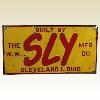 """Circa 1943-1963  'W.W. Sly Mfg. Co.' Embossed Metal 22"""" Advertising Sign"""