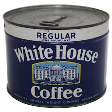 Circa: 1940's 1 lb. Unopened 'White House Coffee' Key Wind Litho Coffee Tin