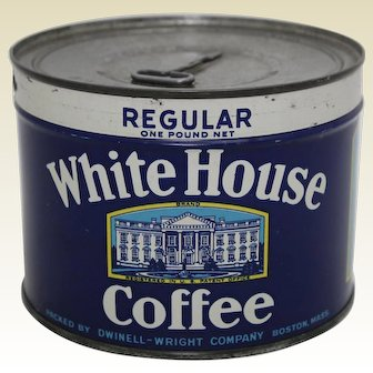 Circa: 1940's 1 lb. Unopened 'White House Coffee' Key Wind Litho Coffee Tin