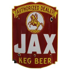 "Pre-WW 2 Large ""Jax Keg Beer"" Convex Porcelain Sign"