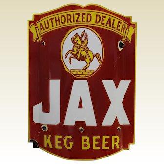 "Pre-WW 2 Large ""Jax Keg Beer"" Convex Porcelain Sign"