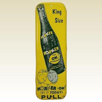 1950's 'Korker' Lemon Lime Drink Metal Litho Door Push