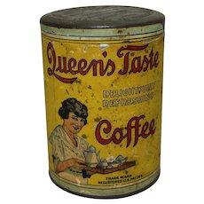 """Circa: 1910-1925 """"Queen's Taste Coffee"""" 1 lb. Tin"""