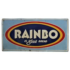 "1950's, 60's ""Rainbo Bread"" 27 1/2"" Embossed Metal Sign"