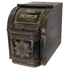 Late 1800's 'Tellicherry Pepper' Counter Top General Store Spice Bin