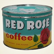 1950's, Early 60's Red Rose 1 lb. Litho Key Wind Coffee Tin
