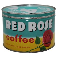 1950's, 60's Red Rose 1 lb. Litho Key Wind Coffee Tin