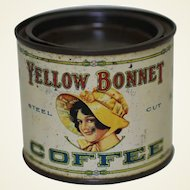 Very Rare, Circa 1925-1930 'Yellow Bonnet' Small 1/4 lb. Litho Coffee Tin