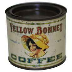 Very Rare, Circa 1925-1930 'Yellow Bonnet' Small 1/4 lb. Litho Coffee Tin