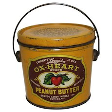 Circa 1922-1935 'Ox-Heart Peanut Butter' Litho Tin Pail