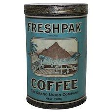 "ate 1920's, Early 30's ""Freshpak Coffee"" 1 lb. Litho Tin"