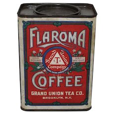 Turn of the Century Grand Union Tea. Co. 1 lb. 'Flaroma Coffee'  Container