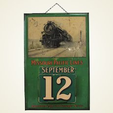 Late 1920's-1930's Missouri Pacific Railroad Metal Perpetual Calendar.