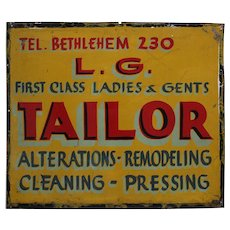 "1930-1950 Metal 23 1/2"" Tailor Shop Trade Sign"