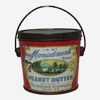 Circa 1920's, Early 30's 'Monadnock' Peanut Butter  Litho Tin Pail