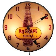 Circa: 1950's 'NuGrape Soda' Working Lighted Advertising Clock