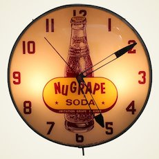 Circa: 1950's 'NuGrape Soda' Working Lighted Advertising Clock