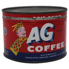 "1940's Early 50's 1 lb. Key Wind Litho ""AG Coffee"" Tin"