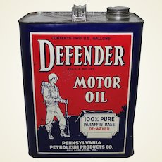 1950's, Early 60's  'Defender Motor Oil' 2 Gal. Advertising Can