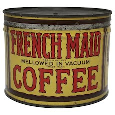 "Late 1920's - 1930's Rare 'French Maid"" Key-wind Litho 1 lb. Coffee Tin"
